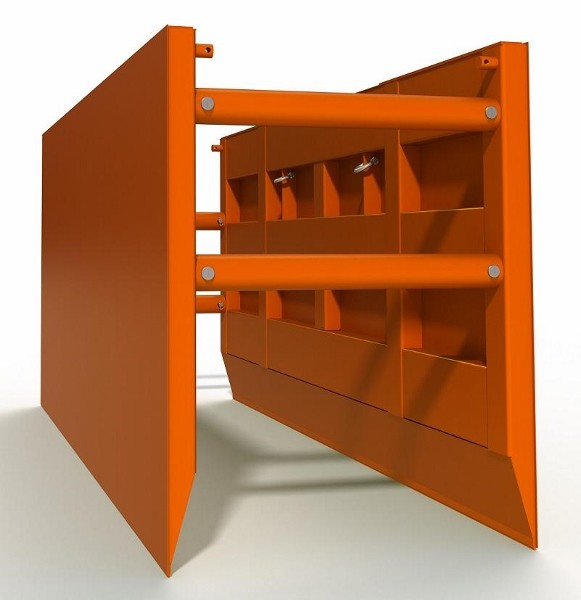 Steel Trench Box: Image of a steel trench box for sale painted orange, with four spreaders, sockets and pins, stacking lugs, internal shelf, knife edge, and pounding pads.