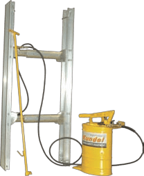 TrenchShore Hydraulic Shoring image showing hydraulic trench shoring jack and pump with can.